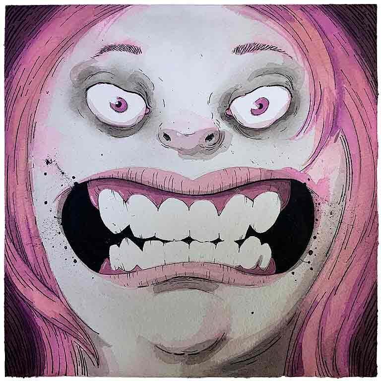 teeth. obra original, acuarela y tinta sobre papel de algodón imagen 20x20cm tamaño del papel 35x35 cm