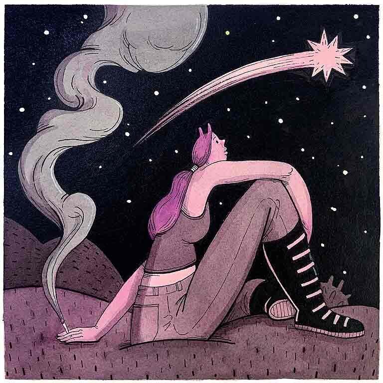 Wish. ilustración original, acuarela y tinta sobre papel de algodón , imagen 20x20cm, tamaño del papel 35x35cm