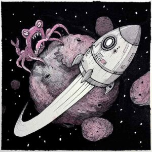 Rocket, Cohete. Obra original. acuarela y tinta sobre papel de algodón 20x20cm papel 35x35cm. Un cohete huyendo de un monstruo espacial en un asteriode. Aventuras.
