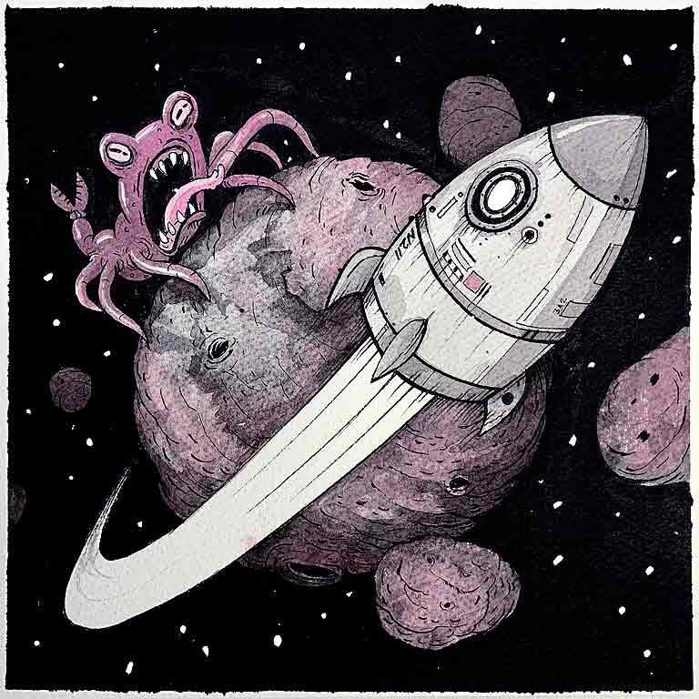 Rocket. Obra original. 20x20cm papel 35x35cm