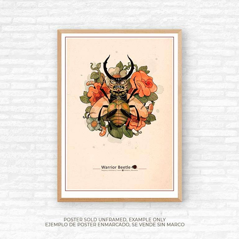 poster 50 x70cm beetle warrior, Edu Rubio