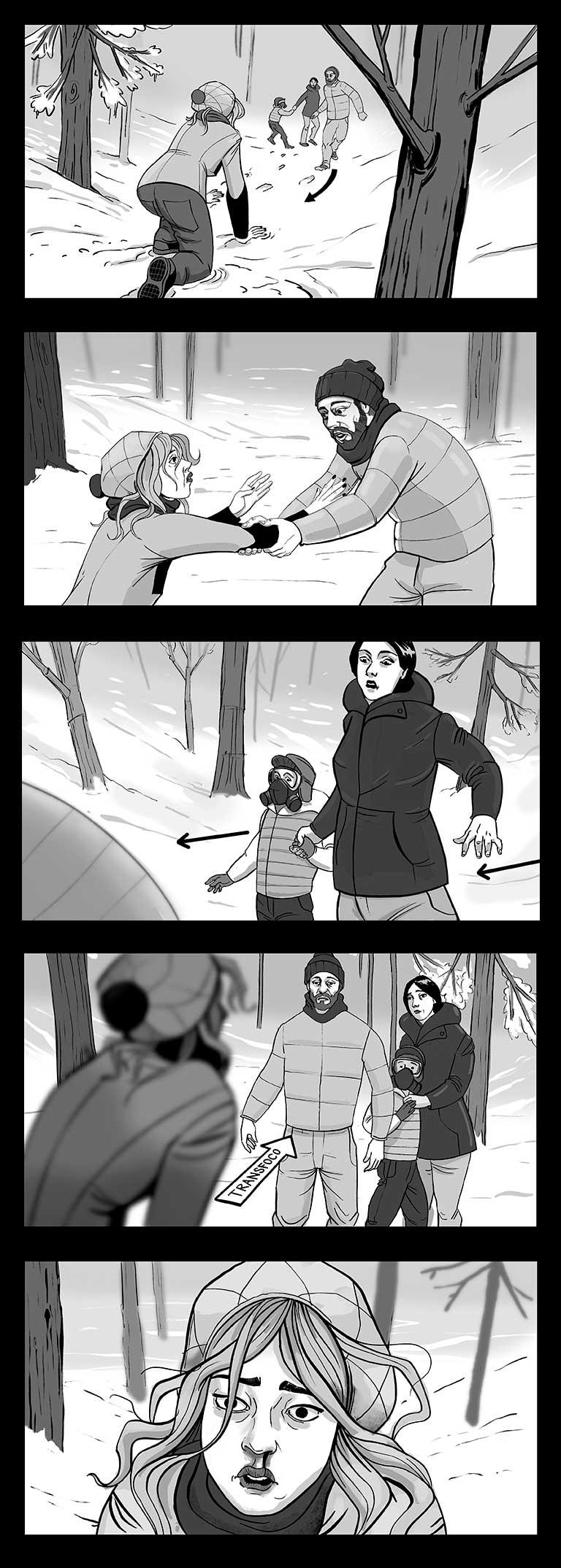 storyboard escena de horror en el bosque